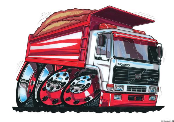 Camion Volvo FL12 Benne Rouge