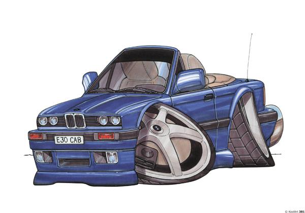 BMW E30 Décapotable Bleue