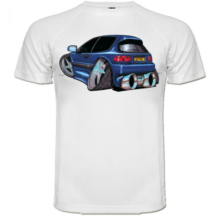 t shirt honda civic bleu caricature