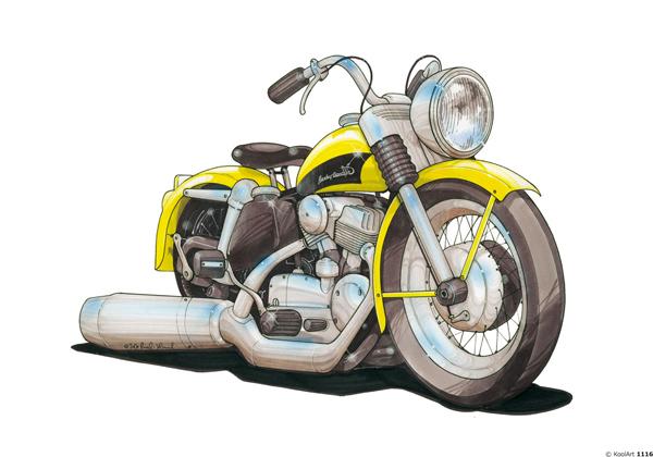 Harley Davidson 1956 Jaune