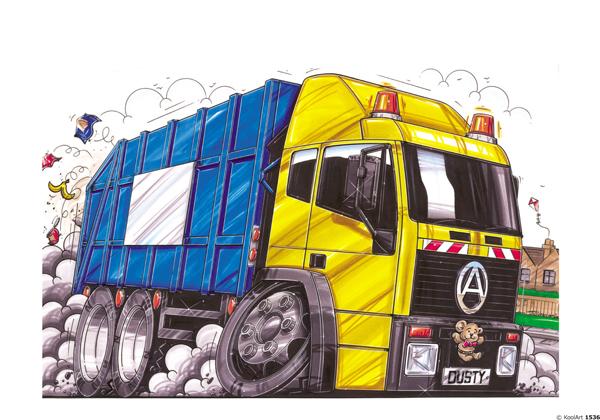 Camion Benne Ordures Jaune