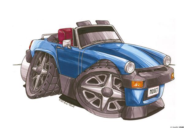 MG Midget Bleue