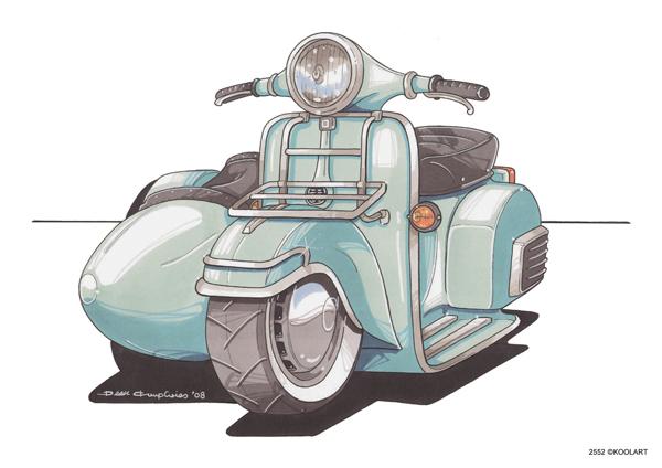 Vespa 150 Sidecar Bleu Clair