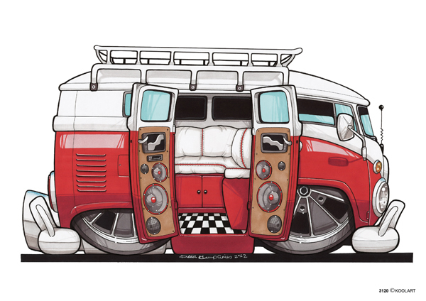 VW Combi Ouvert Rouge