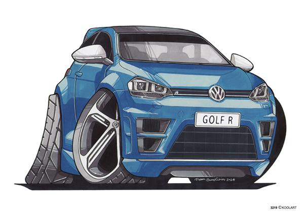 VW Golf R Bleue