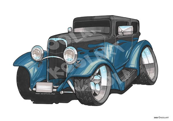 Ford Hot Rod Bleu